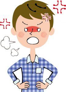 顔瘀赤くして怒る男性