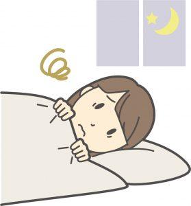 寝付けない女性のイラスト