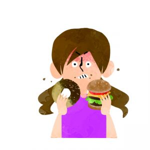 やけ食いする女性のイラスト