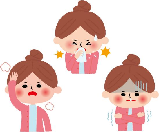色々なカゼの症状の女性のイラスト